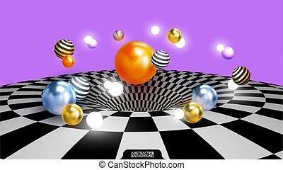 有色人種, オレンジ, チェッカーの駒, 球, balls., 3d, illustration., 抽象的, ベクトル, 金, 装飾用である, 上に, 銀, 芸術, surface., 背景, composition., グロッシー, ボール, 手ざわり, eps10
