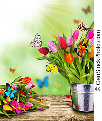 有色人種, チューリップ, 花, ∥で∥, エキゾチック, 蝶