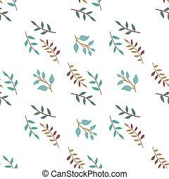 有色人種, パターン, 小枝, pattern., seamless, バックグラウンド。, ベクトル, 白