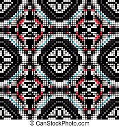 有色人種, パターン, seamless, イラスト, ベクトル, 背景, 小さい, 幾何学的, ピクセル