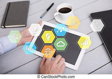 有色人種, ビジネス アイコン, concept., screen., 事実上, グラフ, アプリケーション