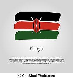 有色人種, フォーマット, ライン, 手, 旗, ベクトル, 引かれる,  kenya