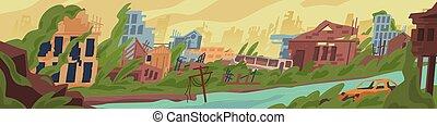 有色人種, ベクトル, 破壊された, concept., ポスト, illustration., 都市 通り, 破滅的である, 建物, 災害, 台なし, 捨てられた, 損害, 世界, 戦争, 漫画, 自然, 破壊, 地域