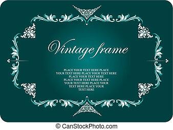 有色人種, 型, 招待, ベクトル, frame., 結婚式, 花, illustration.