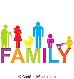 有色人種, 子供, 祖父母, アイコン, 家族, 親