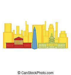 有色人種, 都市の景観, の, ワシントン, 都市