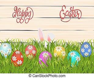 有色人種, easter., daisies., パターン, 卵, イラスト, grass., うさぎ, 幸せなイースター, 隠ぺい
