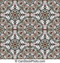 有色人種, mandala, 民族, ornament., seamless, 東洋, pattern.