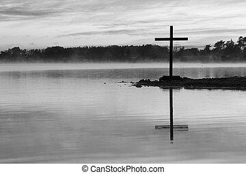 有薄雾, 湖, 横越