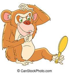 有趣, 卡通, 猴子