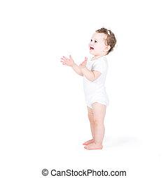 有趣, 女嬰, 拍的 手, 在懷特上, 背景