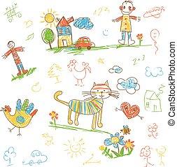 有趣, 孩子, doodle., set., 字, hand-drawn