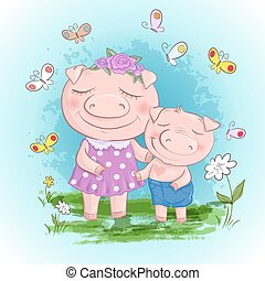 有趣, 小豬, 家庭, family., son., 豬, 豬, 母親, 樂趣, 卡通, 朋友, 或者