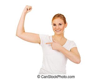 有趣, 年輕婦女, 顯示, 她, 肌肉
