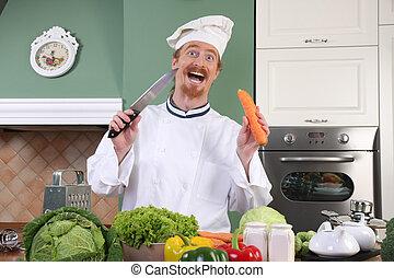 有趣, 年輕的主廚, 準備午餐, 在, 廚房