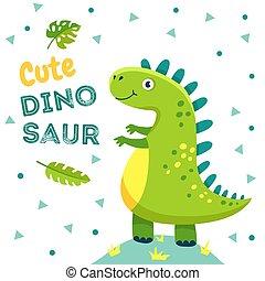 有趣, 時裝, poster., 孩子, 侏羅紀, 漂亮, dino, 龍, t恤衫, 恐龍, 恐龍, 矢量, 設計, 背景, 嬰儿動物, 怪物