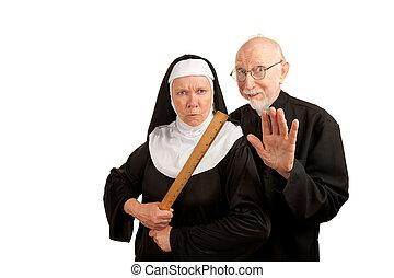 有趣, 牧師, 以及, 修女