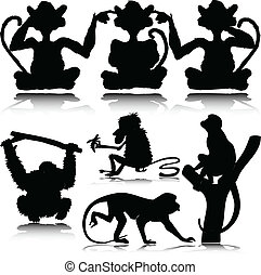 有趣, 猴子, 矢量, 黑色半面畫像