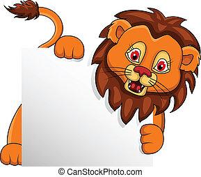 有趣, 獅子, 卡通, 由于, 空白徵候