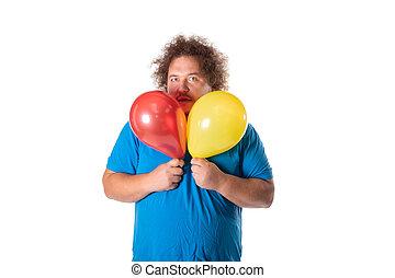 有趣, 肥胖的人, 由于, balloons., 生日快樂