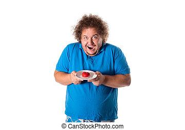 有趣, 肥胖的人, 由于, cake., 生日快樂