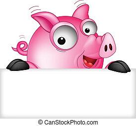 有趣, 豬, 卡通, 由于, 空白徵候