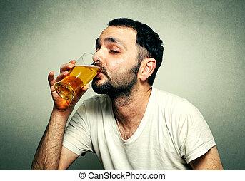 有趣, 運動, 迷, 喝酒, 啤酒