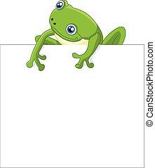 有趣, 青蛙, 卡通, 由于, 空白徵候