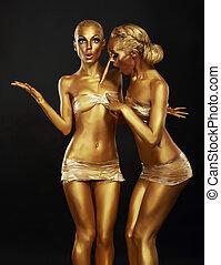 有趣, coloring., 黃金, 构成, 二, paintbrush., 婦女, gilt.