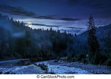 有雾, 河, 森林, 山谷, 夜晚