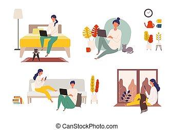 有, 网, autumn., 人, 檢查, 矢量, 人們, 插圖, 天, 婦女, 。, 放松