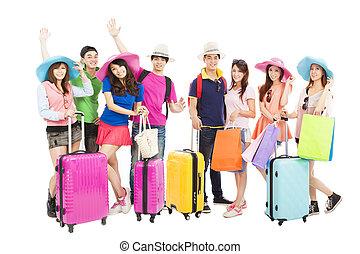 朋友的组, 或者, 同学, 是, 准备好, 为了旅行