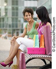 朋友, 袋子, 长凳, 购物, 坐