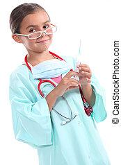 服を着せられる, 女の子, 医者