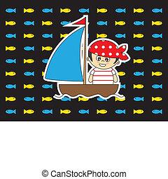 服を着せられる, 海賊, カード, 子供