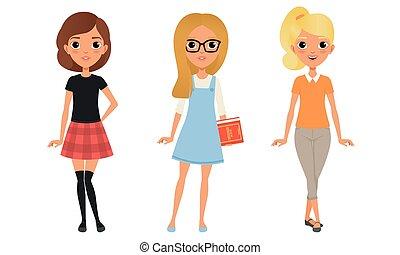 服を着せられる, 衣服, ティーネージャー, イラスト, グループ, 女の子, 流行, 特徴, 3, 漫画, ベクトル, かわいい, スタイル, 美しい, 最新流行である
