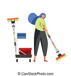服务, 套间, 打扫, 矢量, 隔离, 描述, 商业