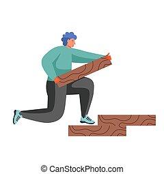 服务, 镶木地板, 套间, 矢量, 隔离, 描述, 地板