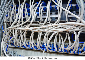 服務器, 電腦, 連線, 網際網路, 以太網, 電纜