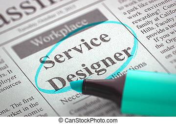 服務, 設計師, 工作, vacancy., 3d.