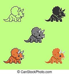 服装, わずかしか, tシャツ, 子供, 甘い, 恐竜, toy., dino., 1人の赤ん坊, 涼しい, invitation., 託児所, triceratops