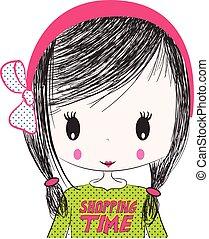服装, 女の子, illustration., かわいい
