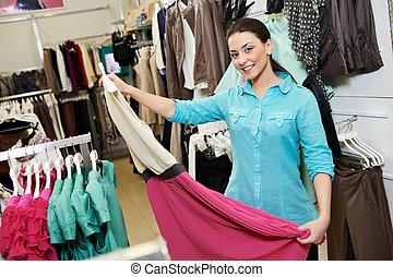 服装, 女性買い物, 若い, 衣服