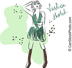 服, スケッチ, 不足分, 緑, 女の子