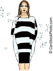 服, スケッチ, 白, 黒人の少女