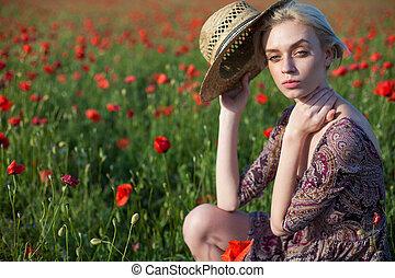 服, ブロンド, 流行, 赤, 美しい, フィールド, 女, 花