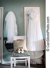 服, ベール, 靴, 結婚式