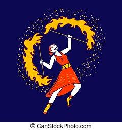 服, 女の子, 女, くるくる回る, 燃焼, 炎, stage., 身に着けていること, 手, 若い, 特徴, ダンス, ベクトル, 実行者, サーカス, ショー, 活躍の舞台, イラスト, 火, 劇場, 遊び, 芸術家, blaze., 赤, ∥あるいは∥, 線である