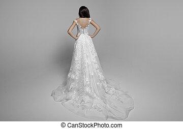 服, 女性の背部, 隔離された, バックグラウンド。, ブルネット, デリケートである, 結婚式, 白, 王女, sensual, 光景