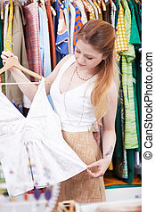 服, 女性買い物, 若い, 店